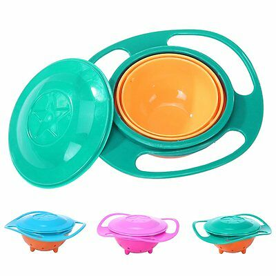 Spill-Proof Food Gyro Feeding Bowl Dish 360 degree Rotate lid Baby Kids Children