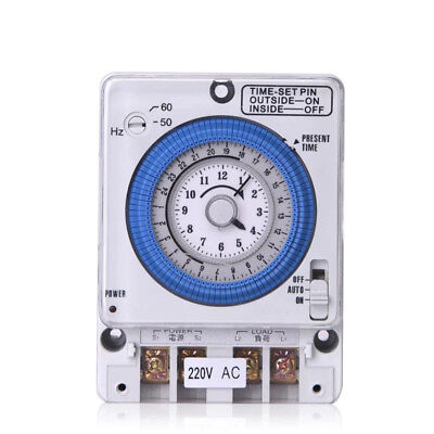 Mechanical Time Switches Manual Auto Control TB-35 AC 220V 10A Timing Range 24H