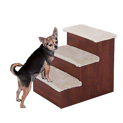 "PawHut 24"" Wooden Carpeted Pet Easy Step Pet 3 Stairs Ramp Cats & Dogs Storage"