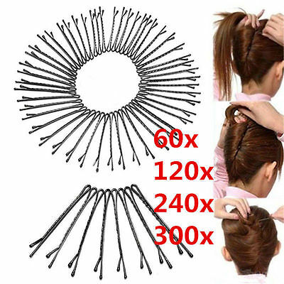 48/240x Invisible Good Hair Clips Flat Top Bobby Pins Grips Salon Barrette Black