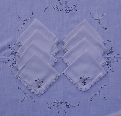 Vintage Hand Embroidered Tablecloth with 8 matching napkins - 145cm Square