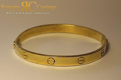 925 Sterling Silver Designer Screw Bangle Fully Stamped 9ct dipped in Gold 26g