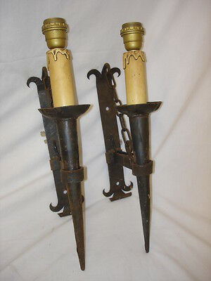 Pair Of Vintage Candle Effect Cast Iron Wall Mounted Lamps
