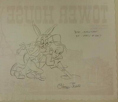 Rare find: Signed Chuck Jones Bugs bunny & Elmer Fudd drawing on a placemat