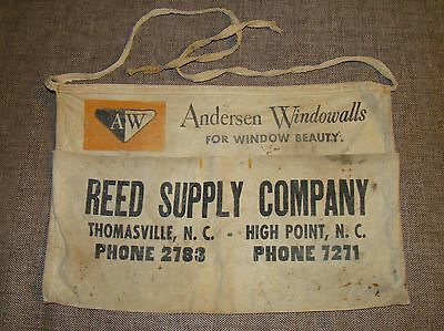Vtg Carpenter Apron Anderson Windowalls Reed Supply Co High Point Thomasville NC