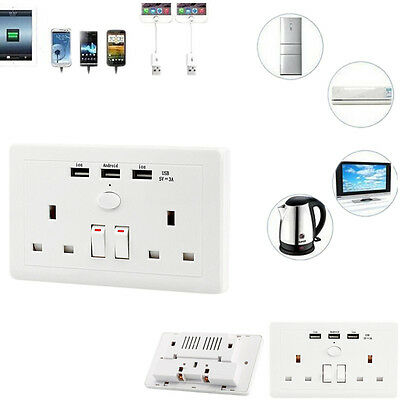 Double Wall Socket with 3 USB fast Charger Ports 2 Gang Plug Switched Plate UK