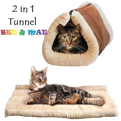 2 in 1 Kitty Bed Self Heating Tunnel Bed & Mat Cat Dog Puppy 90cm x 55cm Bed