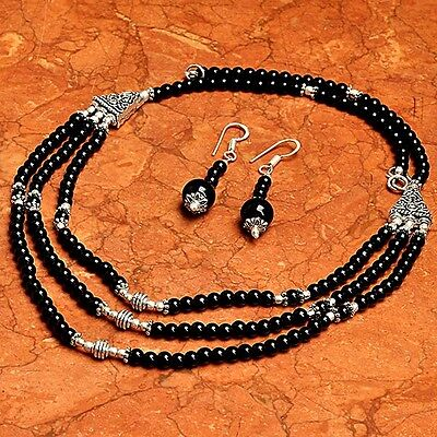 Black Onyx 925 Sterling Silver Overlay Necklace,Earrings Jewelry ABJ3083