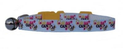 "WHITE YELLOW   ""  CUTE AS CAN BEE   ""  safety kitten cat collar  3 sizes"