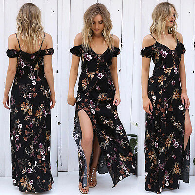 Womens Boho Floral Off Shoulder Long Maxi Dress Ladies Evening Party Beach Dress