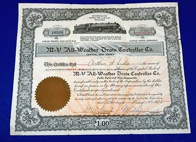 1922  M-V All Weather Train Controller Co. Stock