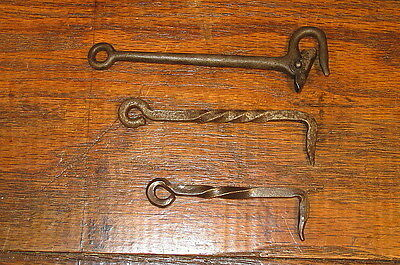 3 Vintage Hand Forged Twisted Steel Barn Door Gate Hooks Or Latches