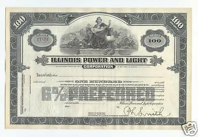 Illinois Power and Light Corporation unissued & signed