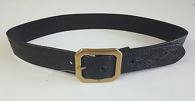 Ralph Lauren Vintage Black Leather Belt W/ Single-Prong Rl Etched Brass Buckle
