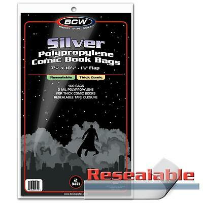 1 Pack 100 BCW Resealable Silver Regular 7 1/4' Thick Comic Book Storage Bags