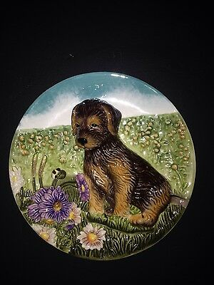NEW Ceramic Artsy 3D Decor Collector's Plate Dog Airedale Terrier Puppy Figure