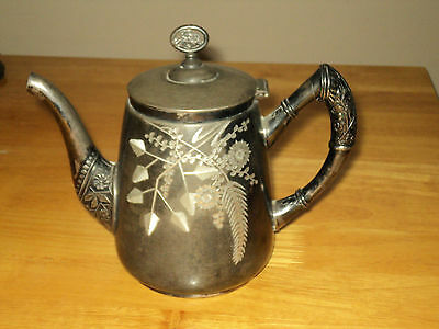 Antique Silverplated Tea Pot w/Etched Flower Design by Acme Silver Plate Co.