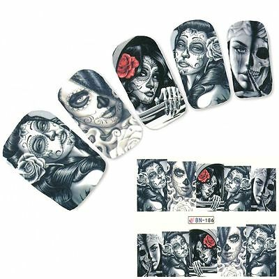 Nail Art Sticker Water Decals Transfer Stickers Halloween Skull Gothic (BN186)