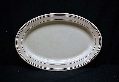 "Restaurant Ware Iroquois China Syracuse NY 13"" Oval Serving Platter Red Ring MCM"