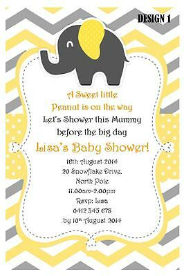 20 x UNISEX YELLOW/GREY BABY SHOWER ELEPHANT PERSONALISED INVITATIONS + MAGNETS