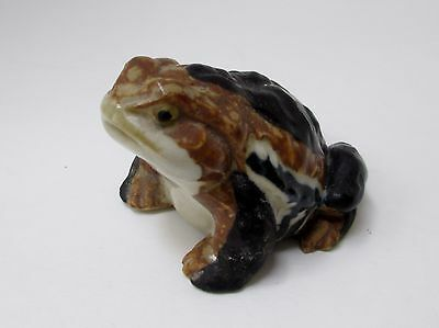 Vintage Hirado Porcelain Toad Frog Miniature Figurine Off White Throat