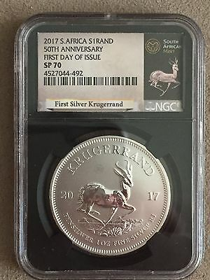 2017 1oz Fine-Silver Krugerrand SP70 First Day of Issue