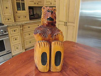 """Hand Carved Bear by Bears """"R"""" Us Approximately 14 Inches Tall - Solid Wood"""
