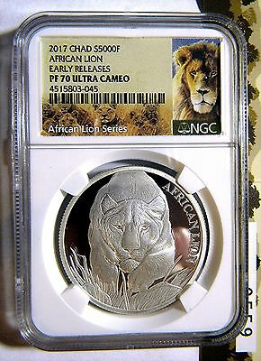 2017 Chad 5000F African Lion 1oz Silver Proof NGC PF70 - Only 1000 Minted
