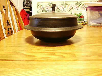 Vintage Korean Cast Metal Cook Pot with Lid