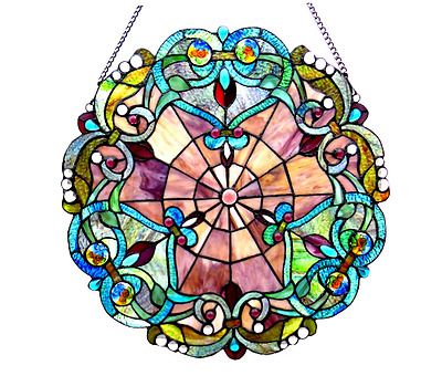 Stained Glass Tiffany Style Round Window Panel Victorian Art Deco Room Accent