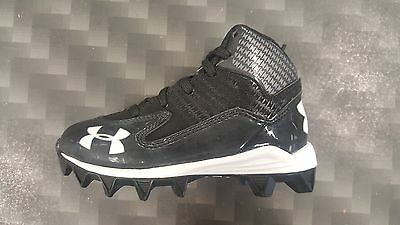 Under Armour Hammer Mid Jr. Youth Rubber Football Cleats Black/White 1249796-001