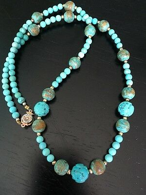antique deco old natural Chinese turquoise carved 17mm shou bead necklace