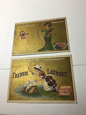 Victorian Trade Card - French Laundry Soap with gold background - Set of 2 cards