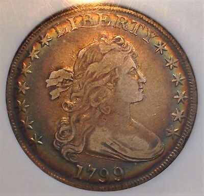 1799 Draped Bust $1 NGC XF45 Heirloom Spectacular Toning CHN!
