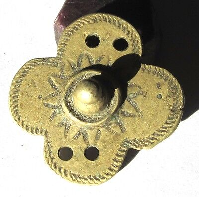 Rare Amazing Old Large Ethiopian Brass Antique Pendant Bead African Trade *