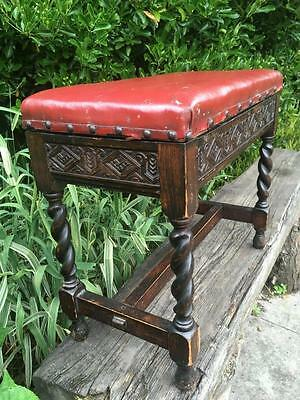 Antique Stool Barley Twist Storage Seat Red Ox Leather Stool Piano Hand Carved