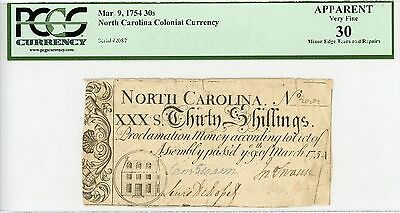 (NC-81) March 9, 1754 30s NORTH CAROLINA Colonial Note - PCGS Very Fine 30