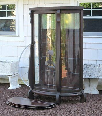 Antique Victorian Empire Curved Glass China Display Cabinet