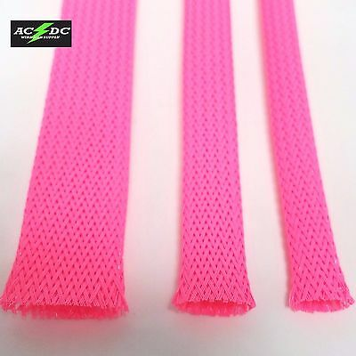 Neon Pink Braided Expandable Flex Sleeve Wiring Cable Harness Loom Wire Cover