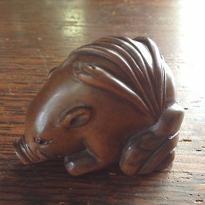 Antique Hand-Carved, 19th C. , Signed, Wood Netsuke of Boar