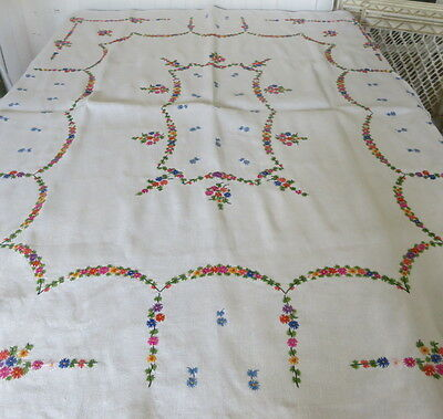 Vintage Tablecloth Linen with Embroidered Flowers 45x57 GORGEOUS!