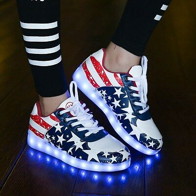 Adult Women Shoes USB Light Up LED Sneakers American Flag US 8.5