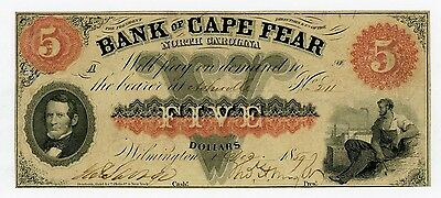 1859 $5 The Bank of Cape Fear - Wilmington, NORTH CAROLINA Note