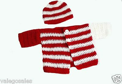Crochet Baby Clothing Cardigan and Hat Set for 3 - 12 mo Red and White #059 Sale
