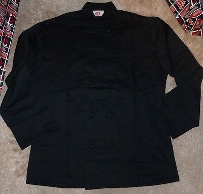 NEW 350 Chef Apparel 10 Knot Button Chef Coat-Easy-Care Twill Black Medium M