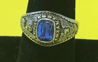 United States Army Ring Silver Tone Blue Stone Size 9 1/4 Jewelry