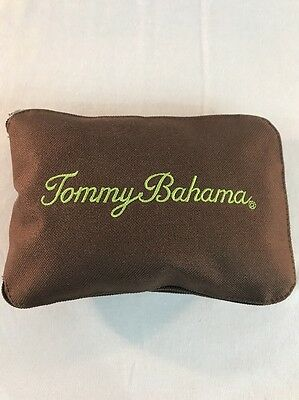 TOMMY BAHAMA Foldable Canvas Shopping Tote Bag Zippered Pouch Brown