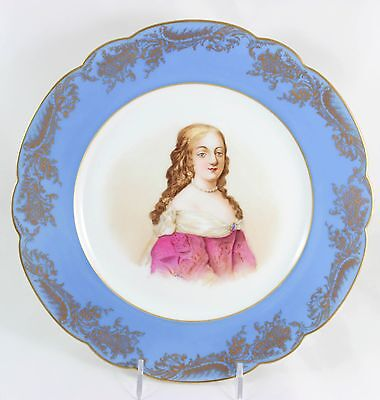Antique Sevres France Hand Painted Cabinet Plate Marquise Montespan Versailles