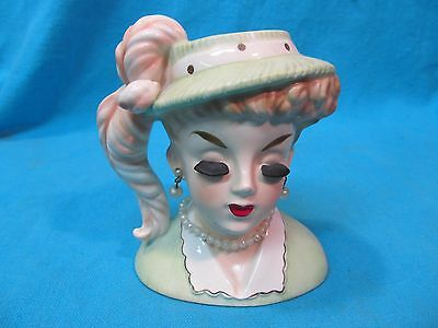 """4 1/2"""" Inarco Lady Head Vase Pearl Earrings Necklace Long Eyelashes E191/s/c"""