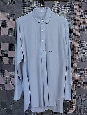 Vintage 1940'S Men'S Blue Dress Shirt W Monogram As Found